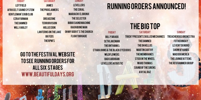 Running orders & last acts announced